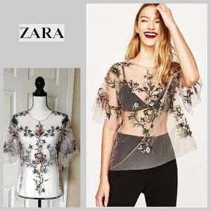 Zara floral embroidered mesh top